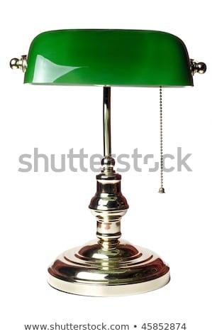 Vert bureau lampe isolé blanche lumière Photo stock © artjazz