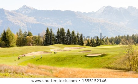 Campo da golf Montana Svizzera recinzione estate nubi Foto d'archivio © Elenarts
