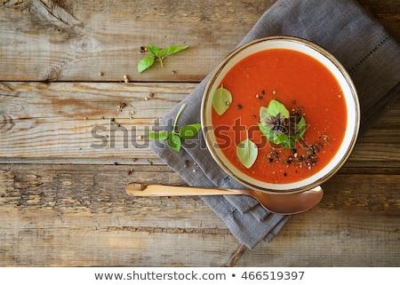 domates · çorbası · fesleğen · taze · sebze · ekmek · kırmızı · kaşık - stok fotoğraf © m-studio