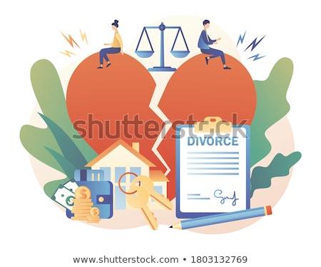 felirat · válás · nő · férfi · pár · törvény - stock fotó © carodi