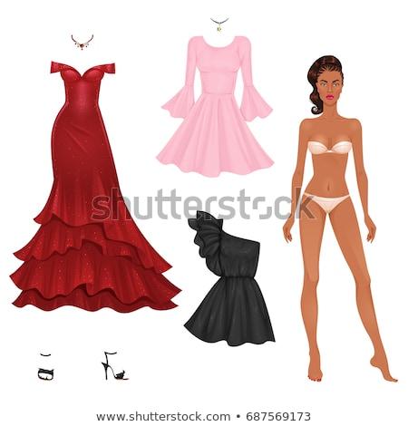 женщину · красное · платье · босиком · изолированный · белый · Sexy - Сток-фото © dolgachov