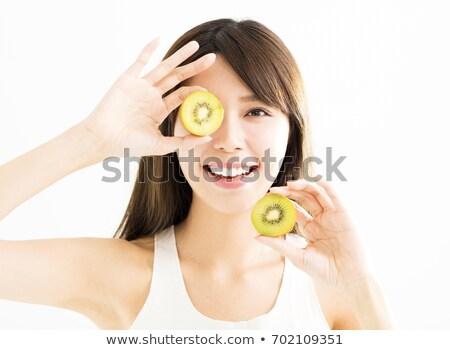 feliz · mulher · kiwi · verde - foto stock © pedromonteiro