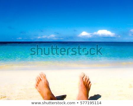 rijpe · vrouw · strand · portret · aantrekkelijk · Blauw - stockfoto © speedfighter