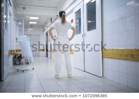 Foto stock: Enfermeira · em · pé · corredor · trabalhar · estudante · saúde