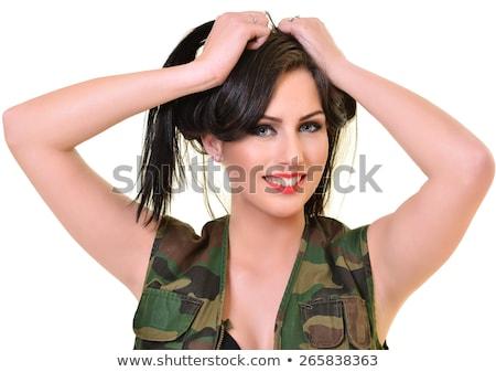 Guerreiro mulher militar isolado branco mulheres Foto stock © grafvision