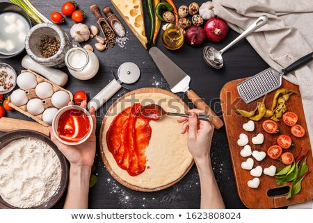 tasty tomatoes mazarella and basil on plate on table stock photo © juniart