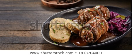 stuffed cabbage and black bread stock photo © taviphoto