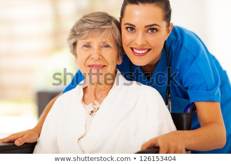 belo · senior · senhora · cadeira · de · rodas · primavera · dia - foto stock © Melpomene