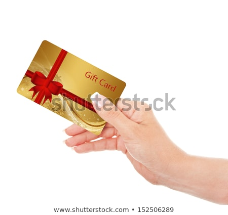 woman giving business card gift card stock photo © ariwasabi