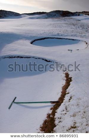 Gereblye hó fedett linkek golfpálya Írország Stock fotó © morrbyte