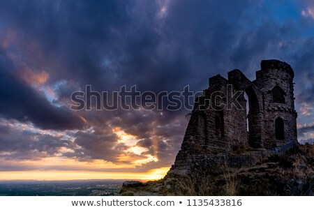 Mow cop castle on rocks at sunset Stock photo © morrbyte