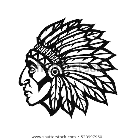 Indian Chief Head Cartoon Vector Graphic Stock photo © chromaco