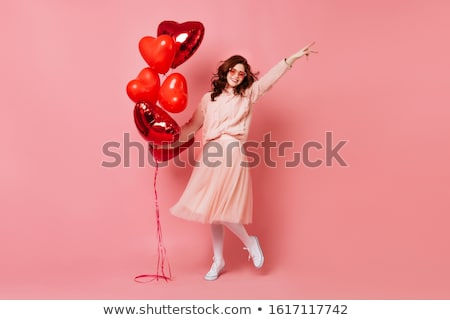 jovem · feliz · mulher · vermelho · balão · isolado - foto stock © rosipro
