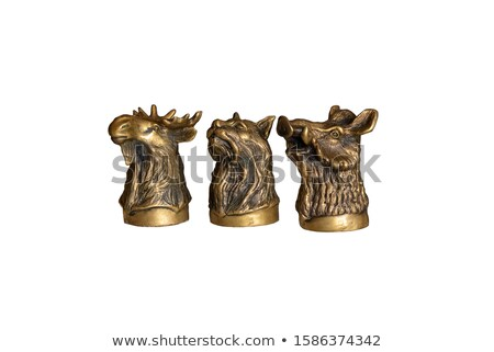 Brąz antyczne statuetka wieprzowych odizolowany obraz Zdjęcia stock © Pilgrimego