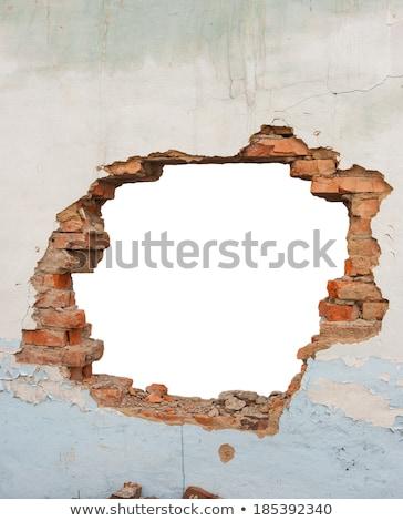 Buraco parede de tijolos ruínas antigo edifício casa luz Foto stock © ultrapro
