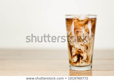 Friss jeges kávé zöld szalmaszál fehér Stock fotó © tab62