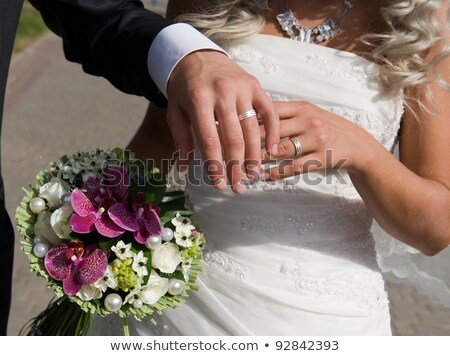 Fabulous woman with bouquet of jewelary Stock photo © konradbak