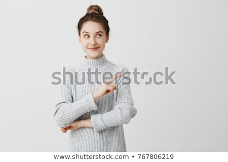 güzel · genç · kadın · bakıyor · işaret · mavi · gömlek - stok fotoğraf © pablocalvog