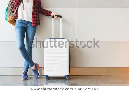 Lány csomagok haj repülőgép táska élet Stock fotó © photography33