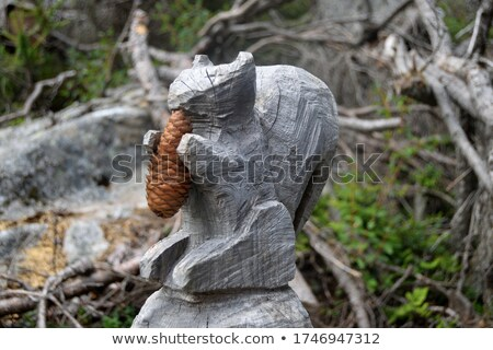 Stock photo: Carving of a wooden squirrel