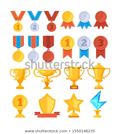 Stock photo: Trophy cups and medals.