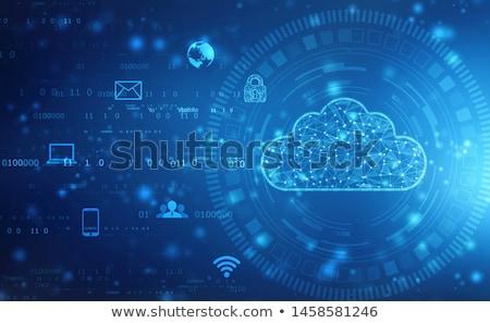 бизнесмен пальца Touch облако значок синий Сток-фото © matteobragaglio