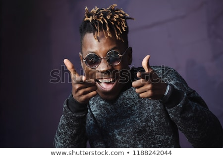 Stock photo: African american young black man rap