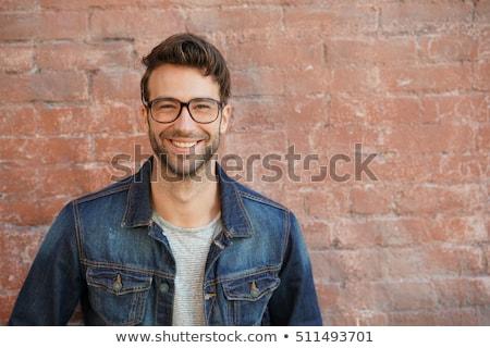 Stockfoto: Glimlachend · 30 · jaar · oude · man · zwart · haar · bruine · ogen · portret