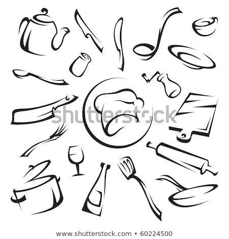 chef hat with spoon, fork and ladle Stock photo © djdarkflower