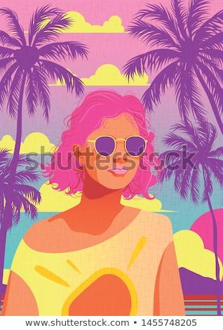 Happy woman on Miami beach. Stock photo © Kurhan