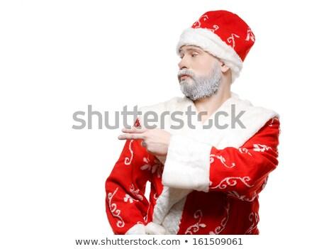 Noel baba el beyaz yüz adam mutlu Stok fotoğraf © fotoatelie