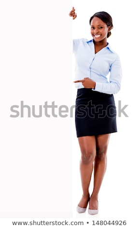 Young woman presenting blank placard Stock photo © AndreyPopov