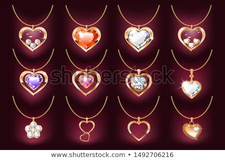Zümrüt kalp takı yalıtılmış beyaz sevmek Stok fotoğraf © dengess