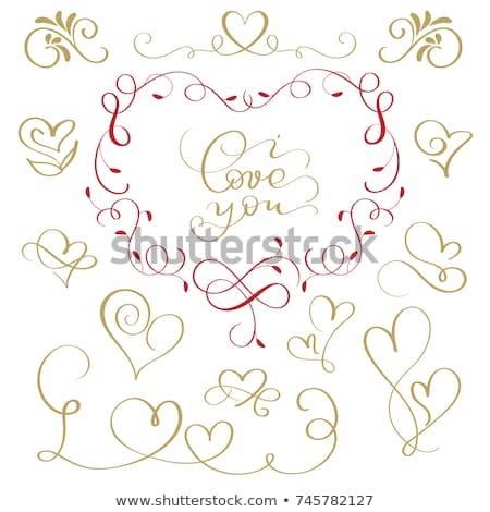 kézzel · rajzolt · szívek · szett · valentin · nap · rajz · kifestőkönyv - stock fotó © burakowski
