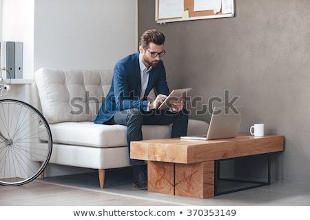 senior · homem · sessão · secretária · casa · computador - foto stock © meinzahn