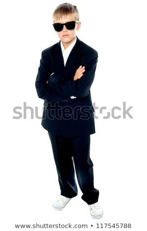 Stok fotoğraf: Portre · küçük · erkek · siyah · takım · elbise · karanlık