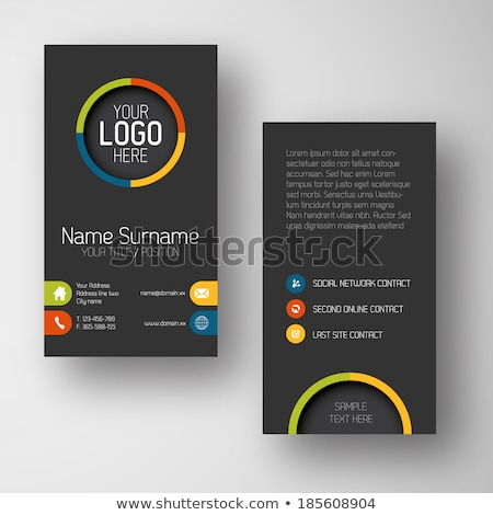 Modern dark vertical business card template with flat user interface Stock photo © orson