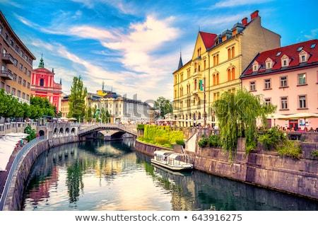 panoráma · Szlovénia · Európa · vibráló · délután · nap - stock fotó © kasto