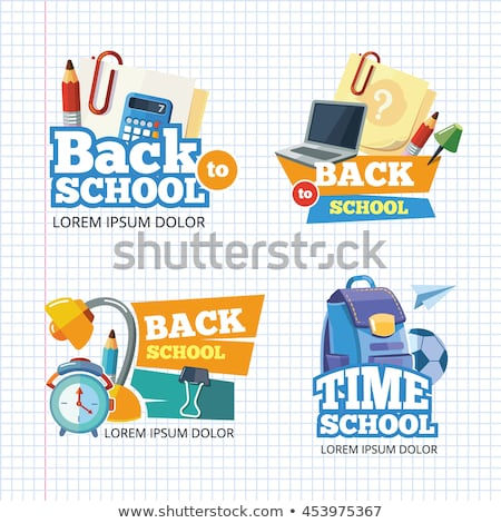 Kroki sırt çantası kitap okul otobüsü ayarlamak el Stok fotoğraf © kali