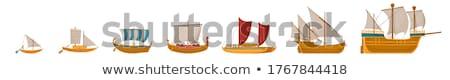 Vitorlás hajó illusztráció tenger hullám rajz árnyék Stock fotó © maximmmmum