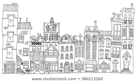caprichoso · casas · aldeia · cena · separado - foto stock © brittenham