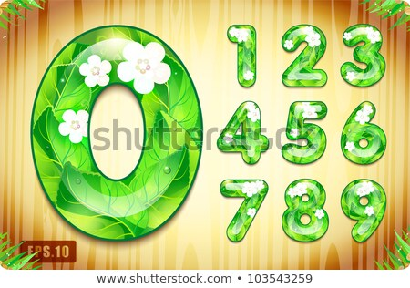 digits 0 1 2 3 of 3d green grass   set stock photo © tashatuvango