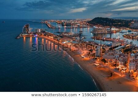 Plaj Barcelona gece İspanya manzara yaz Stok fotoğraf © elxeneize