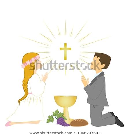 Blond meisje eerste heilig communie uitnodiging Stockfoto © marimorena