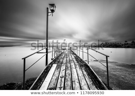 long dock and amazing view of a lake stock photo © aetb