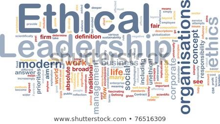 Etikus irányítás szófelhő csapat erő támogatás Stock fotó © tang90246