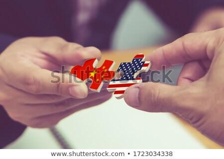 USA · Zjednoczone · Królestwo · flagi · puzzle · odizolowany · biały - zdjęcia stock © istanbul2009