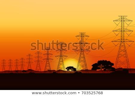 Stockfoto: Voltage · elektrische · paal · zonsondergang · draden · woestijn