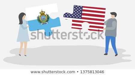 Zdjęcia stock: USA · San · Marino · flagi · puzzle · wektora · obraz