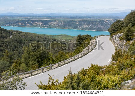 Weg bergen zonsondergang landschap berg Blauw Stockfoto © ultrapro